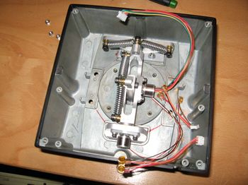 HOTAS Cougar - Joystick base with U2nxt gimbals +HS2 hall sensors mounted - Picture by Gremlin (09-May-2009)