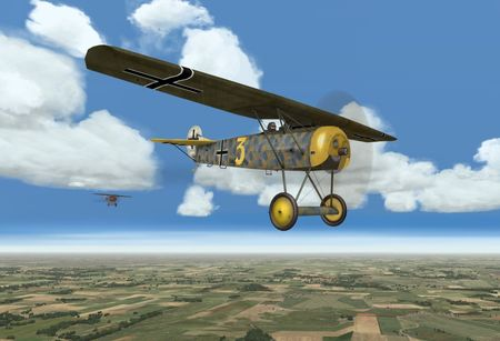 OFF Phase 3 Add On 1 WIP - Fokker D.VIII with personal skin - Screenshot by OBDSoftware (14-Nov-2009)