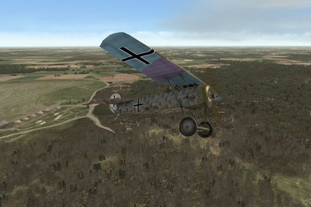 OFF Phase 3 Add On 1 WIP - Fokker E.V above new trees - Screenshot by OBDSoftware (14-Nov-2009)