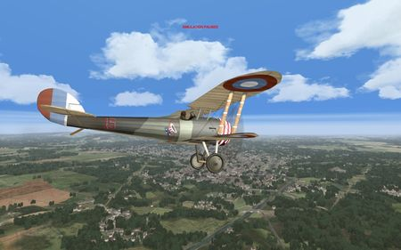 OFF Phase 3 Add On 1 WIP - Nieuport N.28 with city in background - Screenshot by OBDSoftware (14-Nov-2009)