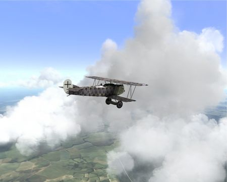 Rise Of Flight - Fokker D.VII in the clouds - Screenshot by Gr.Viper (08-May-2009)