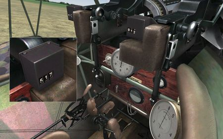 RoF - Fokker D.VIIF cockpit with ammo counters - Screenshot by neoqb (05-Feb-2010)