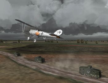Phase 3 - Pfalz D.III and a convoy of A7V tanks - Screenshot by Makai (04-Nov-2008)