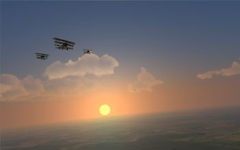 Rise Of Flight - Flight Of Fokker Dr.I in the morning sun - Screenshot by Gremlin (12-Nov-2009)