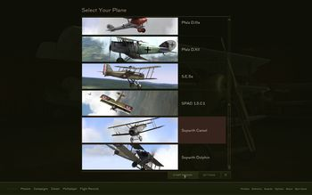 Rise Of Flight - Fly Now plane selection screen - Screenshot by Gremlin (13-Feb-2010)