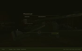 Rise Of Flight - Mission menu - Screenshot by Gremlin (13-Feb-2010)