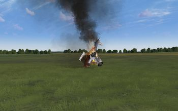 Rise Of Flight - Pfalz D.III with body unharmed and wings destroyed - Screenshot by Gremlin (22-Feb-2010)