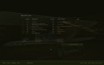 Rise Of Flight - Multiplayer: Servers list - Screenshot by Gremlin (22-Feb-2010)
