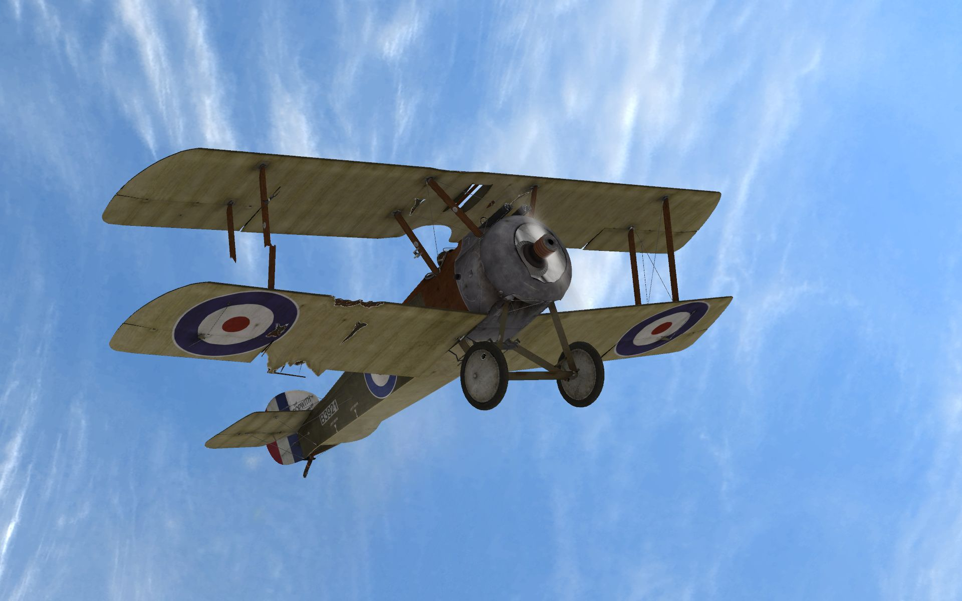 Rise Of Flight - Sopwith Camel F.I with wing damage - Screenshot by Gremlin (28-Feb-2010)